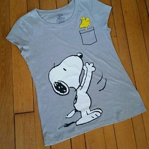 Peanuts Gray Snoopy & Woodstock T-Shirt